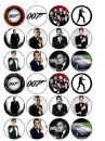 24 James Bond 007 Edible Wafer Rice Cup Cake Toppers